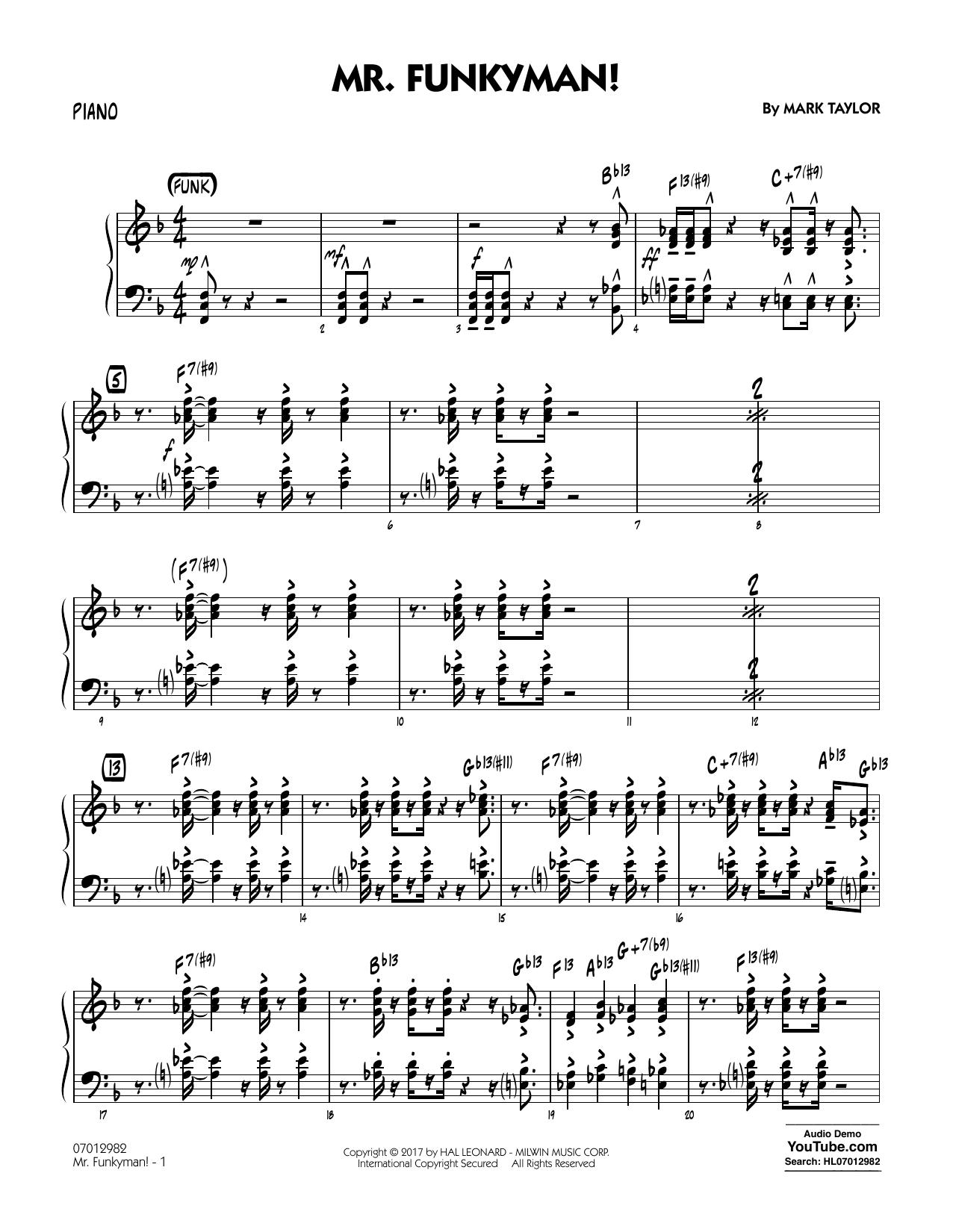 Mark Taylor Mr. Funkyman! - Piano sheet music notes and chords. Download Printable PDF.