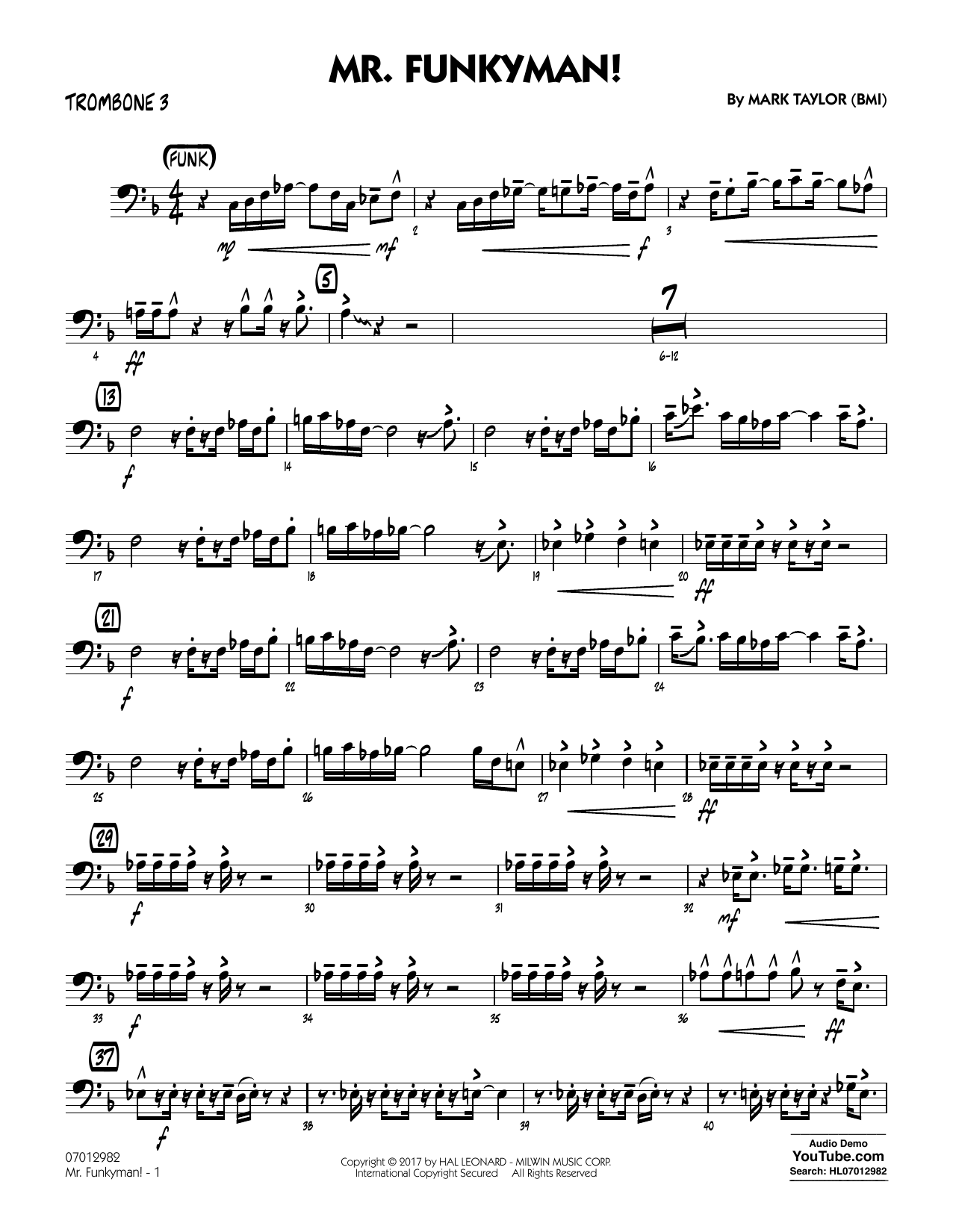 Mark Taylor Mr. Funkyman! - Trombone 3 sheet music notes and chords. Download Printable PDF.