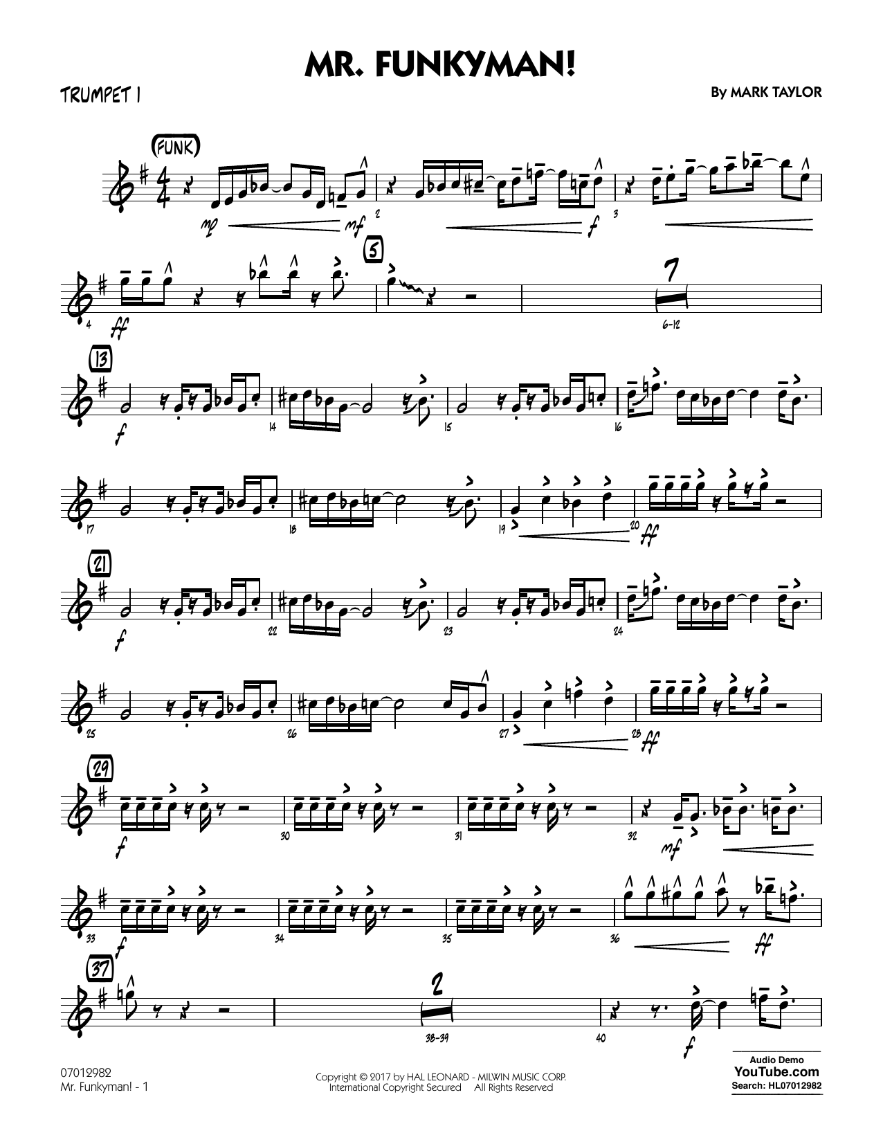 Mark Taylor Mr. Funkyman! - Trumpet 1 sheet music notes and chords. Download Printable PDF.