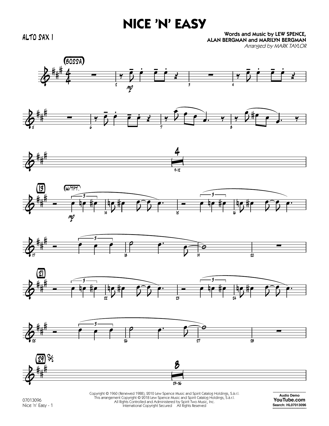 Mark Taylor Nice 'n' Easy - Alto Sax 1 sheet music notes and chords. Download Printable PDF.
