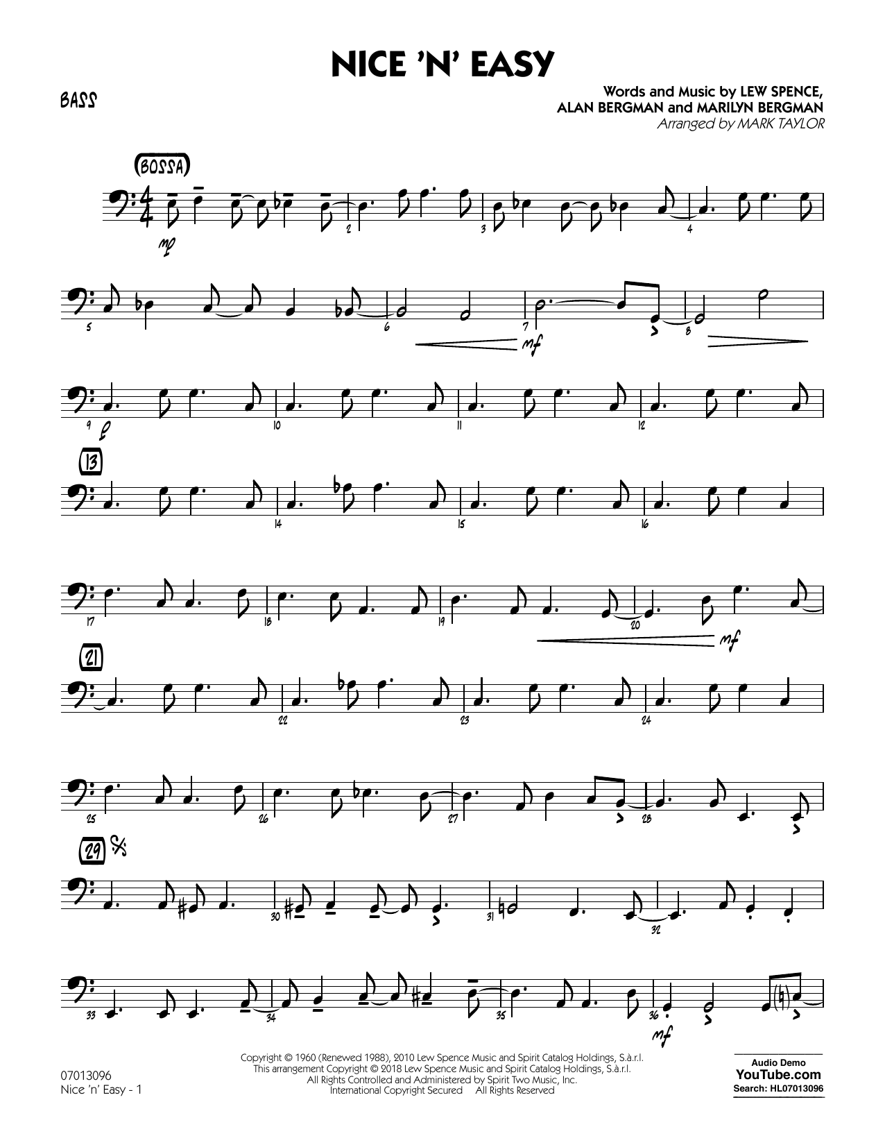 Mark Taylor Nice 'n' Easy - Bass sheet music notes and chords. Download Printable PDF.