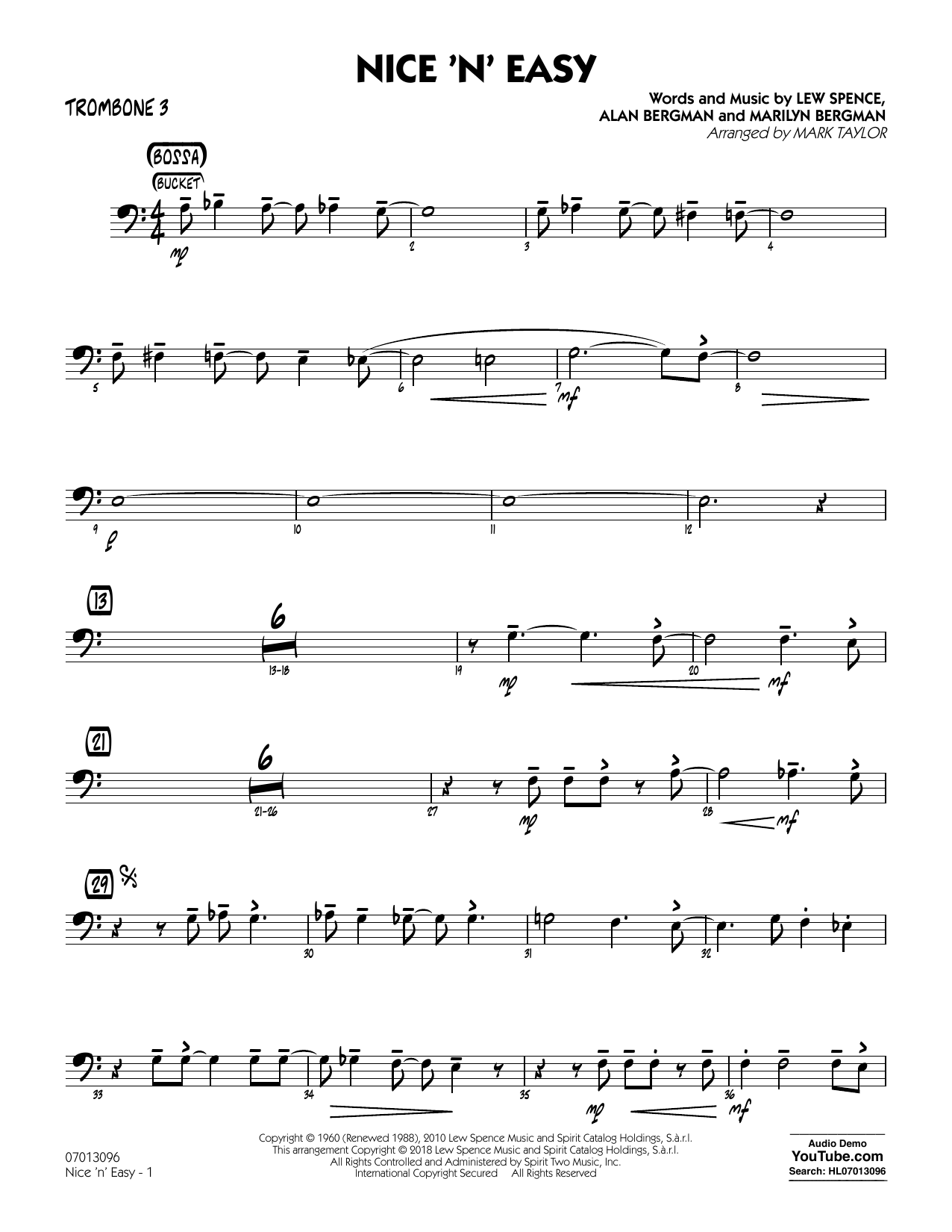 Mark Taylor Nice 'n' Easy - Trombone 3 sheet music notes and chords. Download Printable PDF.