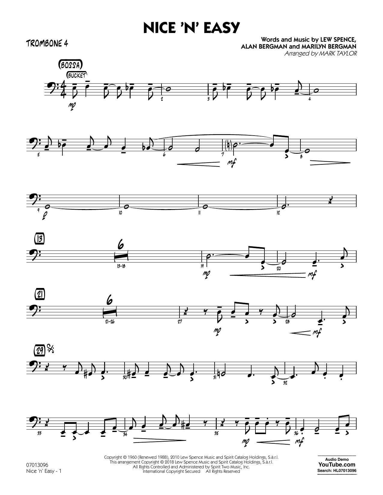 Mark Taylor Nice 'n' Easy - Trombone 4 sheet music notes and chords. Download Printable PDF.