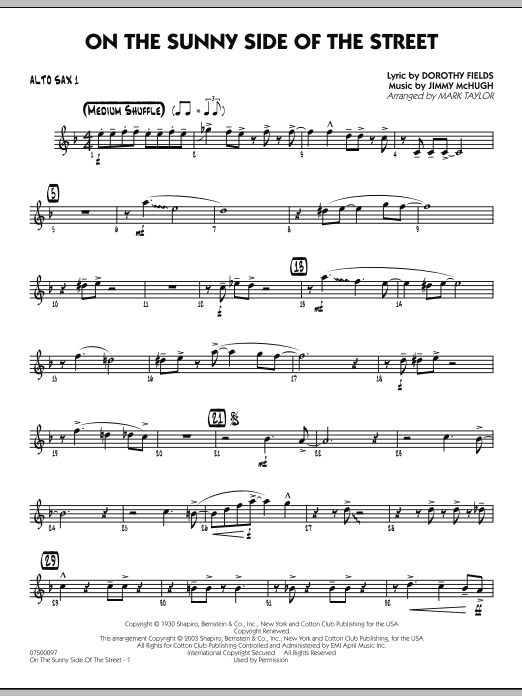 Mark Taylor On The Sunny Side Of The Street - Alto Sax 1 sheet music notes and chords. Download Printable PDF.