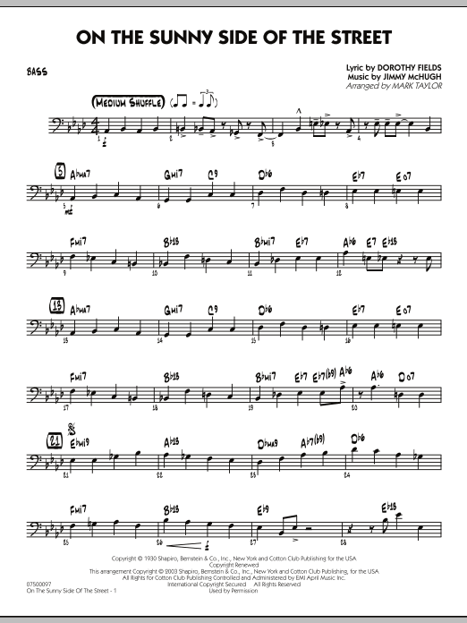Mark Taylor On The Sunny Side Of The Street - Bass sheet music notes and chords. Download Printable PDF.