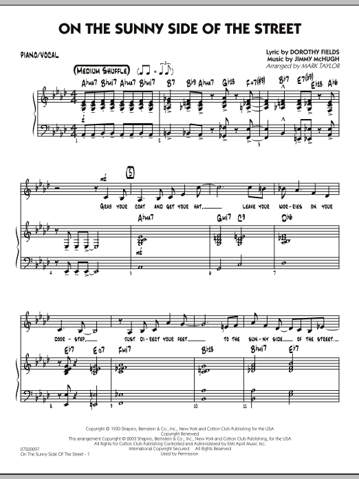 Mark Taylor On The Sunny Side Of The Street - Piano/Vocal sheet music notes and chords. Download Printable PDF.