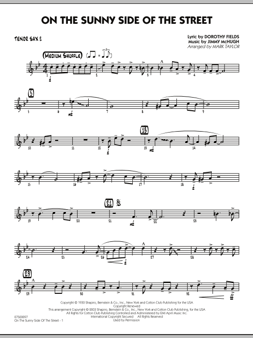 Mark Taylor On The Sunny Side Of The Street - Tenor Sax 2 sheet music notes and chords. Download Printable PDF.