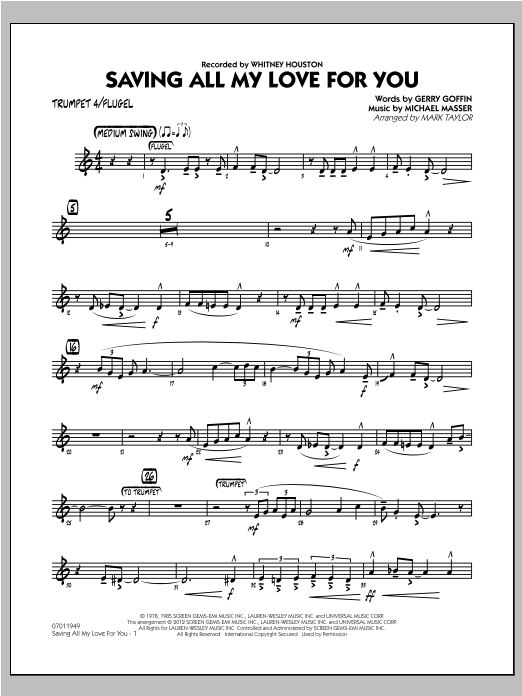 Mark Taylor Saving All My Love for You - Trumpet 4 sheet music notes and chords. Download Printable PDF.