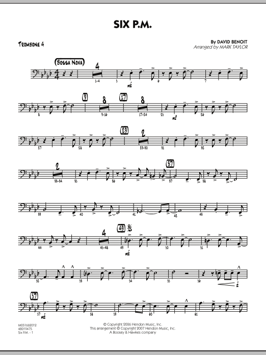 Mark Taylor Six P.M. - Trombone 4 sheet music notes and chords. Download Printable PDF.