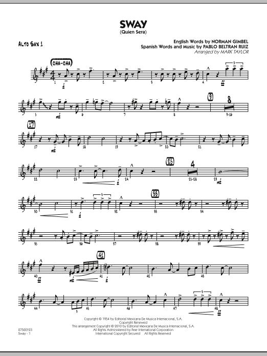 Mark Taylor Sway (Quien Sera) - Alto Sax 1 sheet music notes and chords. Download Printable PDF.