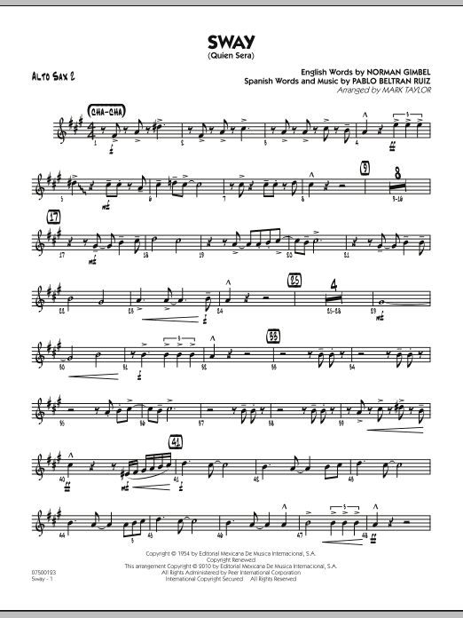 Mark Taylor Sway (Quien Sera) - Alto Sax 2 sheet music notes and chords. Download Printable PDF.