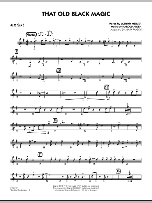 Mark Taylor That Old Black Magic - Alto Sax 1 sheet music notes and chords. Download Printable PDF.