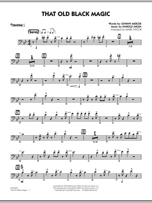 Mark Taylor That Old Black Magic - Trombone 1 sheet music notes and chords. Download Printable PDF.