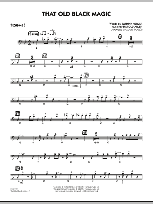 Mark Taylor That Old Black Magic - Trombone 2 sheet music notes and chords. Download Printable PDF.