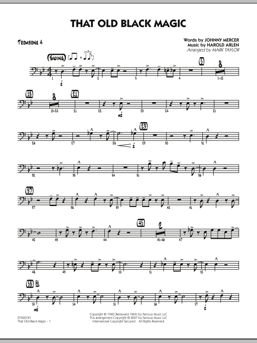 Mark Taylor That Old Black Magic - Trombone 4 sheet music notes and chords. Download Printable PDF.