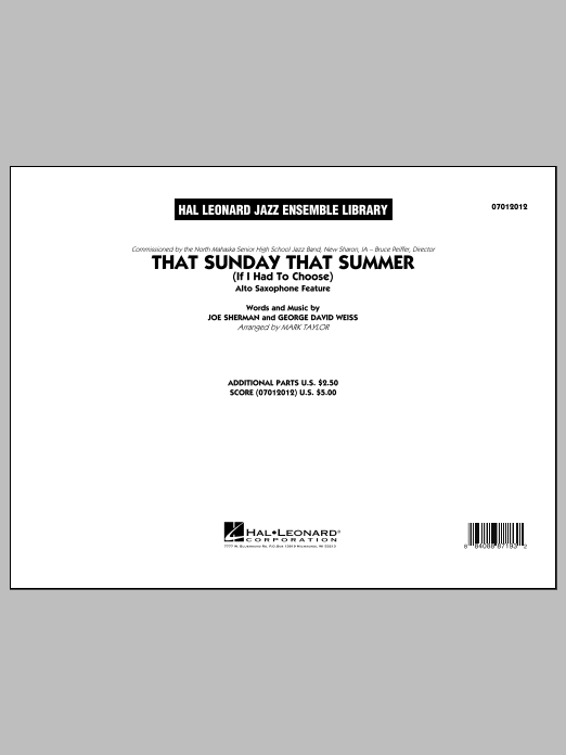 Mark Taylor That Sunday That Summer (If I Had to Choose) - Conductor Score (Full Score) sheet music notes and chords. Download Printable PDF.