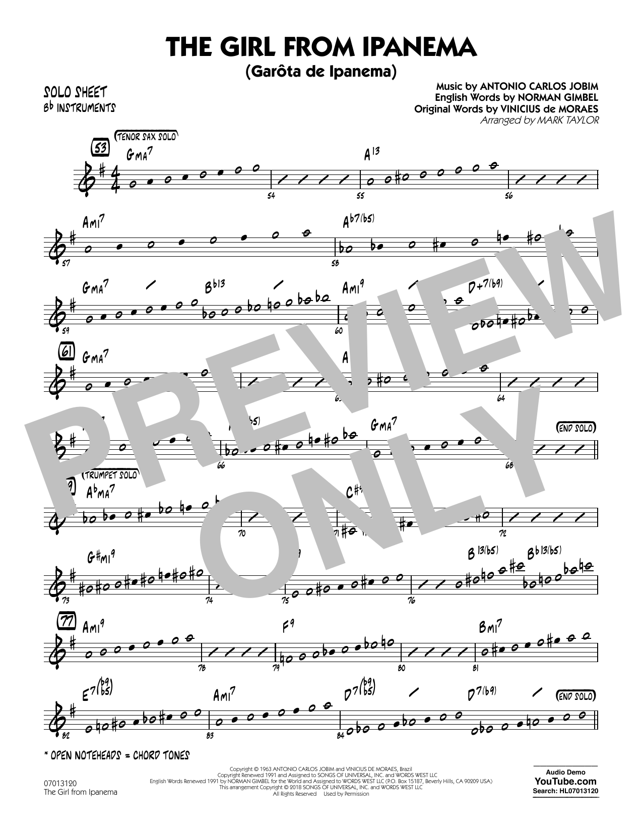 Mark Taylor The Girl from Ipanema - Bb Solo Sheet sheet music notes and chords. Download Printable PDF.