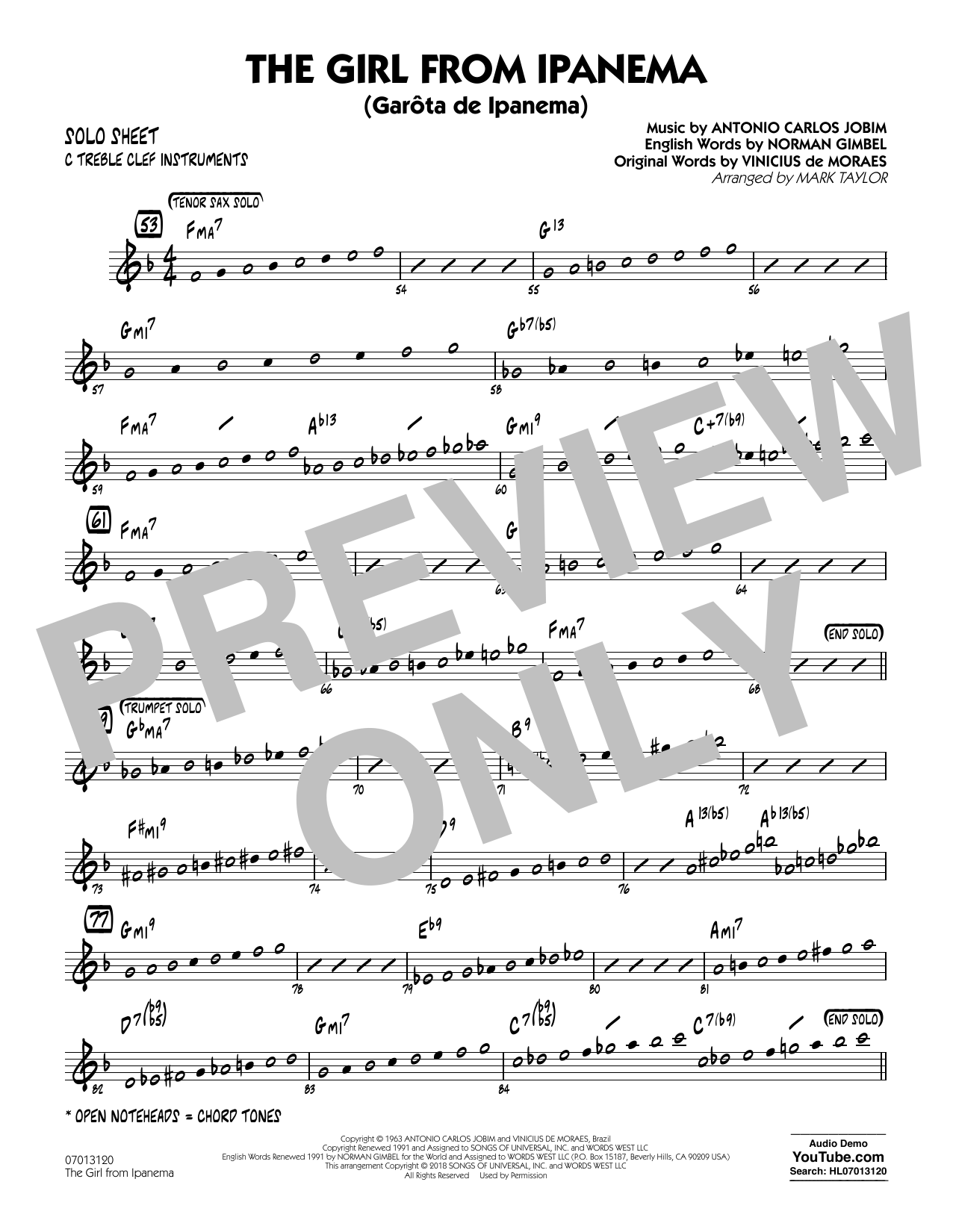 Mark Taylor The Girl from Ipanema - C Solo Sheet sheet music notes and chords. Download Printable PDF.