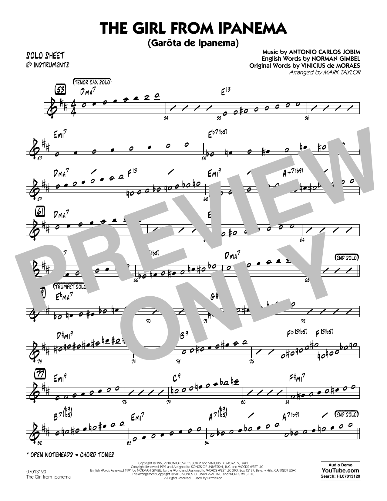 Mark Taylor The Girl from Ipanema - Eb Solo Sheet sheet music notes and chords. Download Printable PDF.
