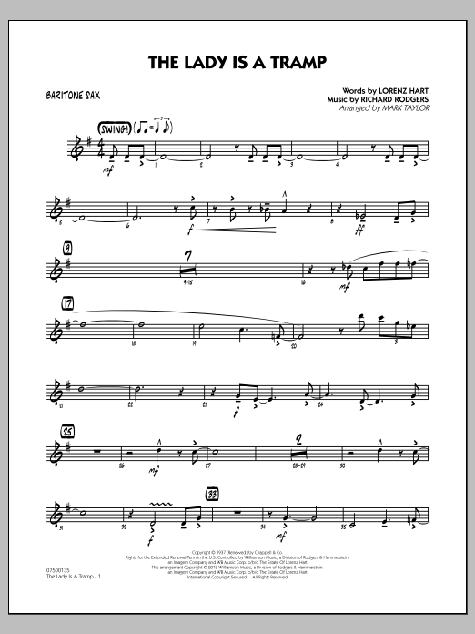 Mark Taylor The Lady Is A Tramp - Baritone Sax sheet music notes and chords. Download Printable PDF.