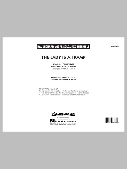 Mark Taylor The Lady Is A Tramp - Conductor Score (Full Score) sheet music notes and chords. Download Printable PDF.
