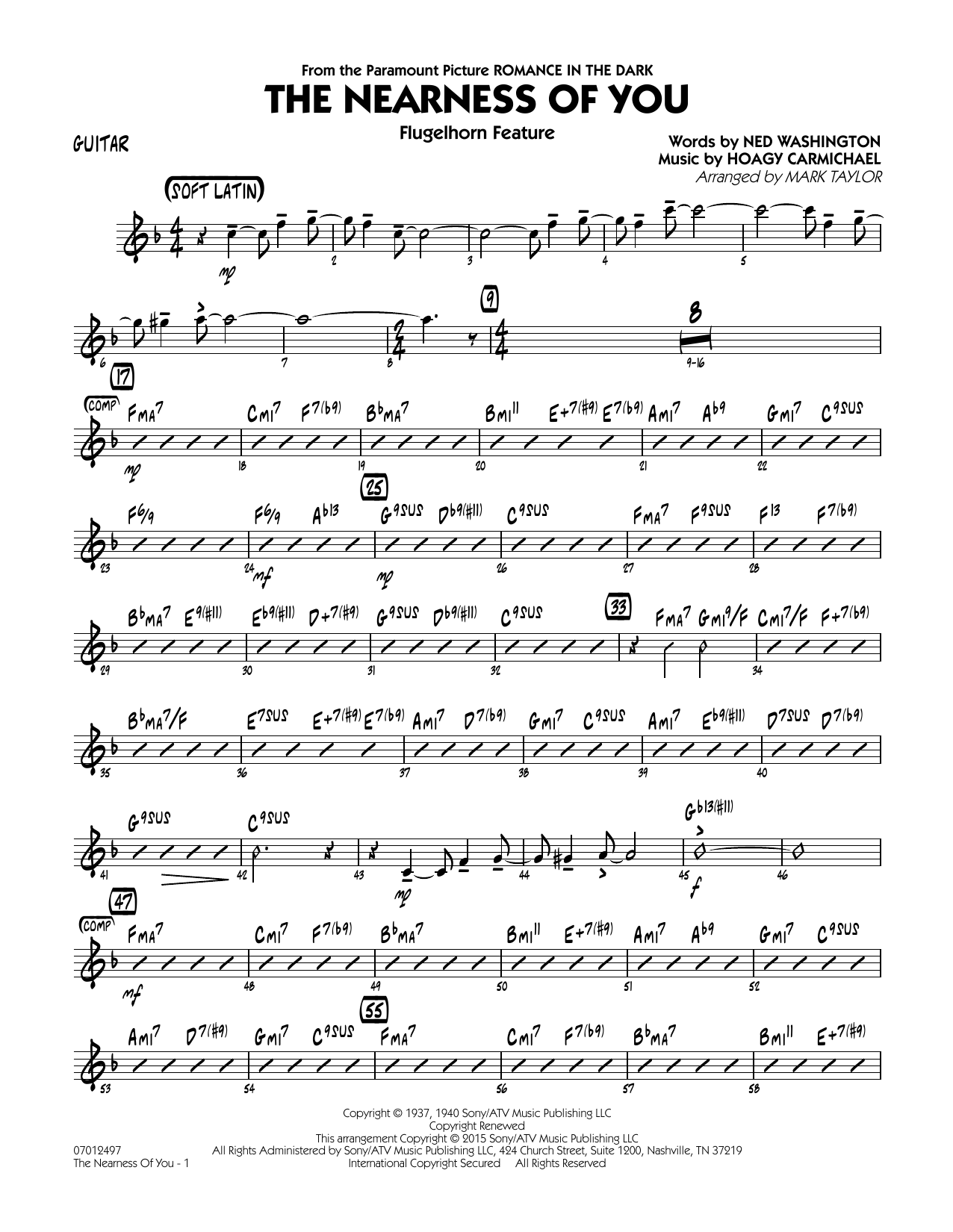 Mark Taylor The Nearness of You (Flugelhorn Feature) - Guitar sheet music notes and chords. Download Printable PDF.