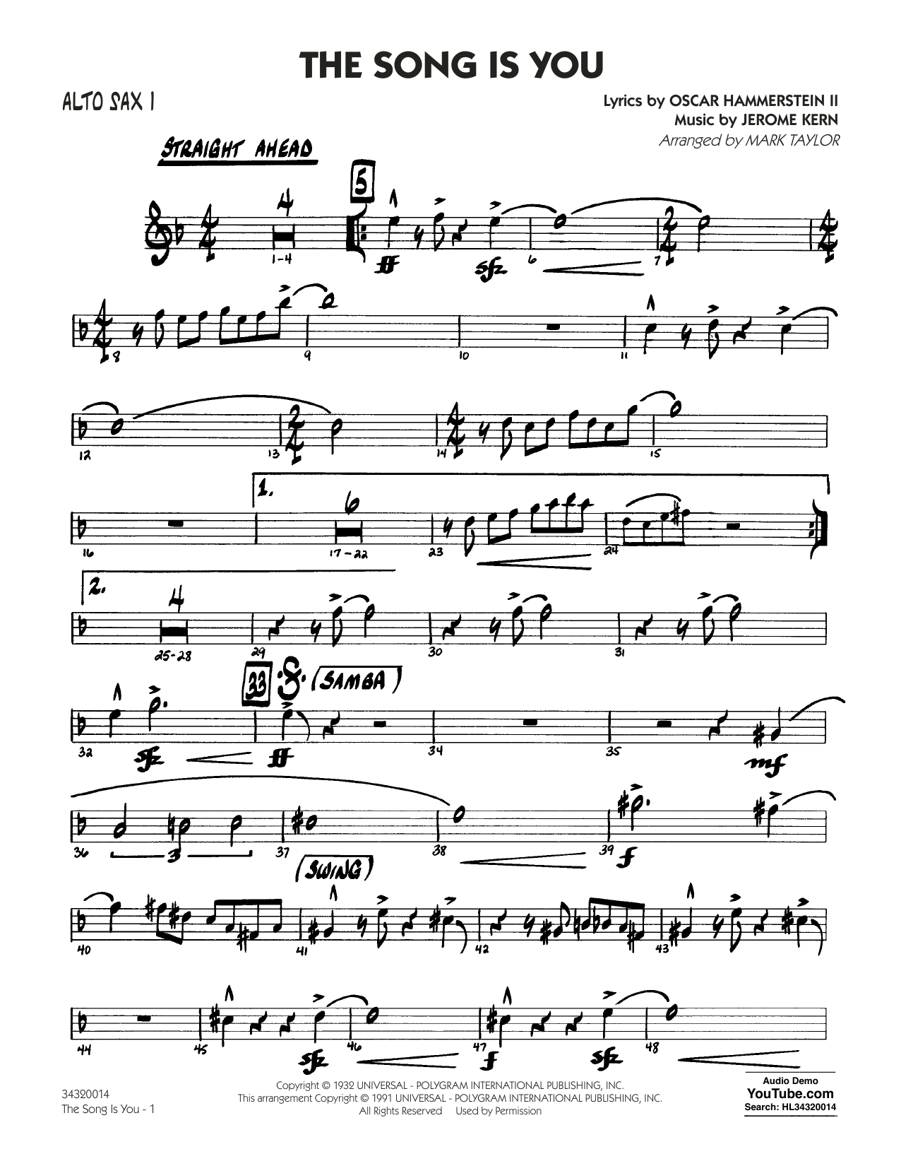Mark Taylor The Song Is You - Alto Sax 1 sheet music notes and chords. Download Printable PDF.