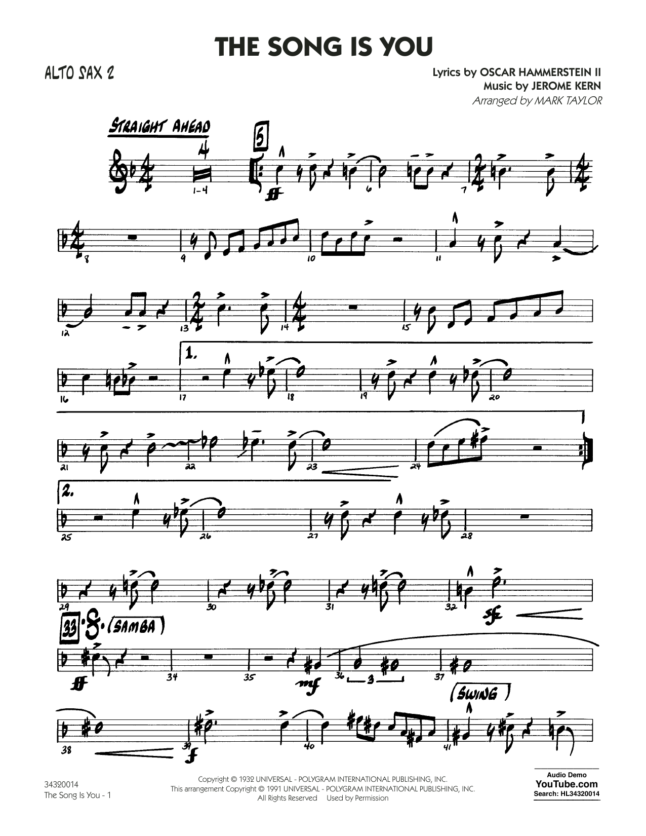 Mark Taylor The Song Is You - Alto Sax 2 sheet music notes and chords. Download Printable PDF.