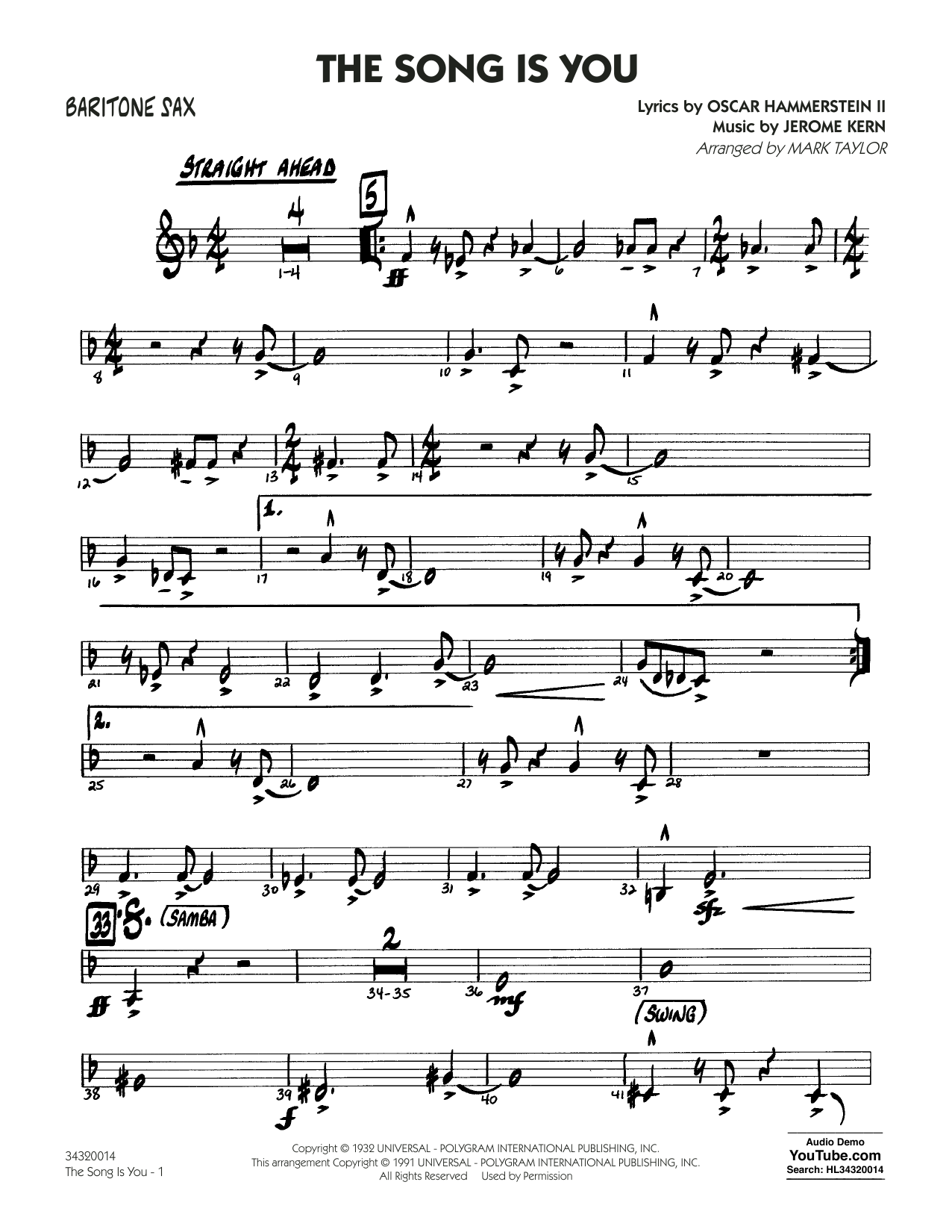 Mark Taylor The Song Is You - Baritone Sax sheet music notes and chords. Download Printable PDF.