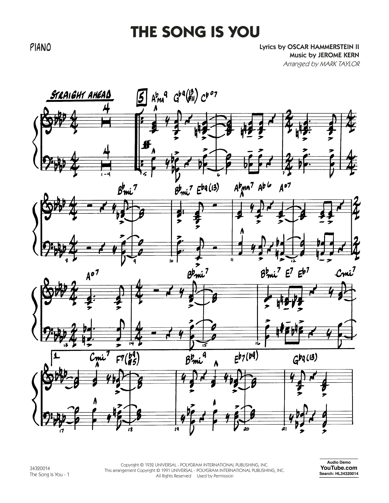 Mark Taylor The Song Is You - Piano sheet music notes and chords. Download Printable PDF.