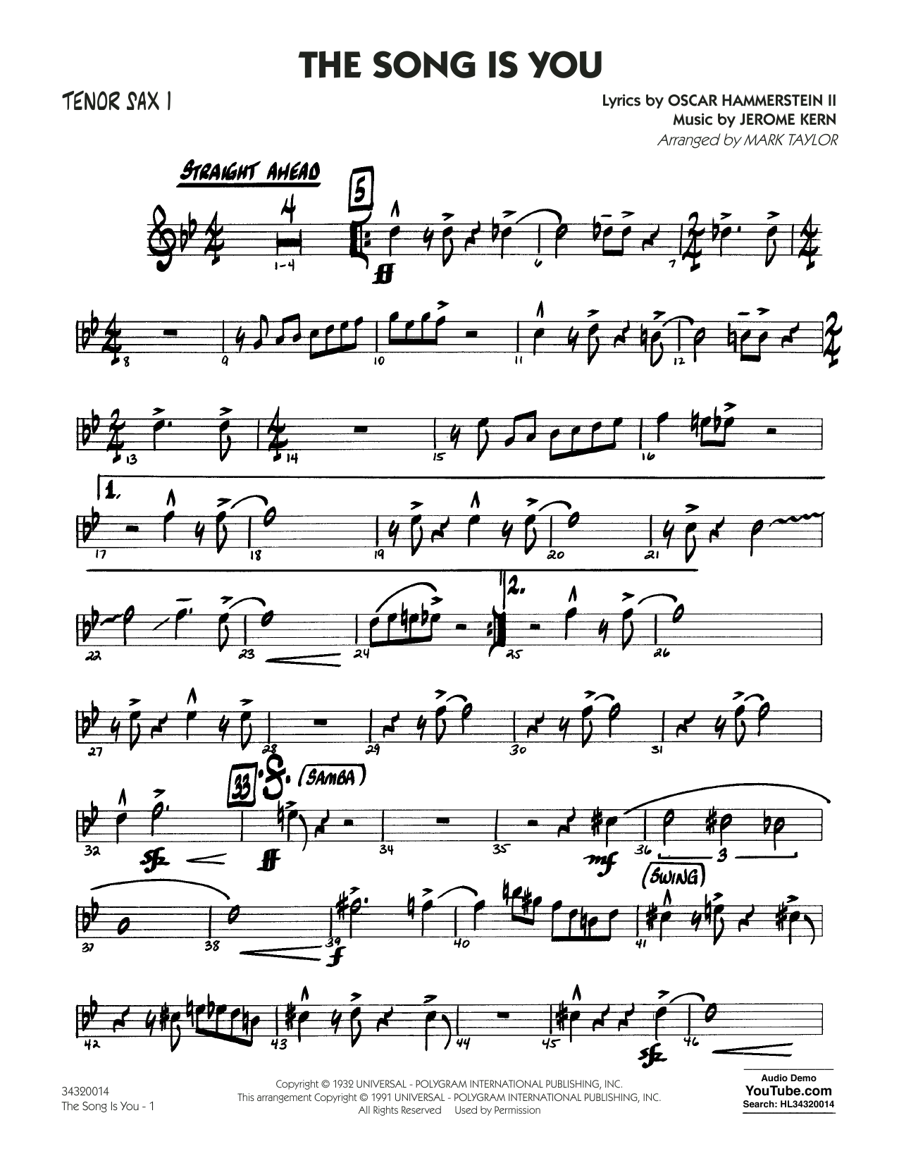 Mark Taylor The Song Is You - Tenor Sax 1 sheet music notes and chords. Download Printable PDF.