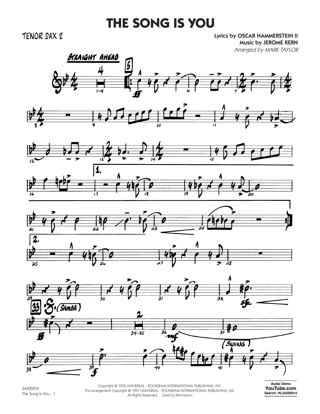 Mark Taylor The Song Is You - Tenor Sax 2 sheet music notes and chords. Download Printable PDF.