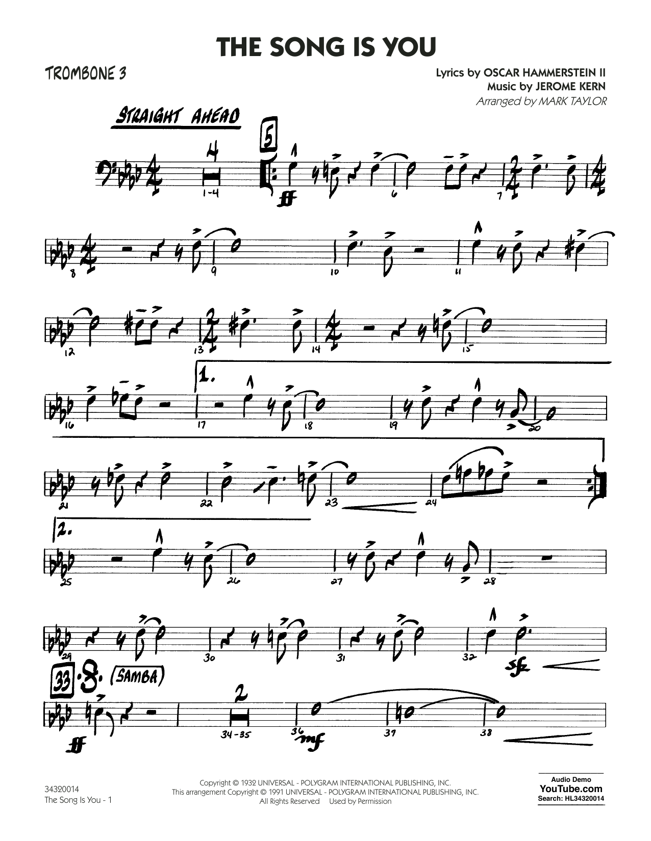 Mark Taylor The Song Is You - Trombone 3 sheet music notes and chords. Download Printable PDF.