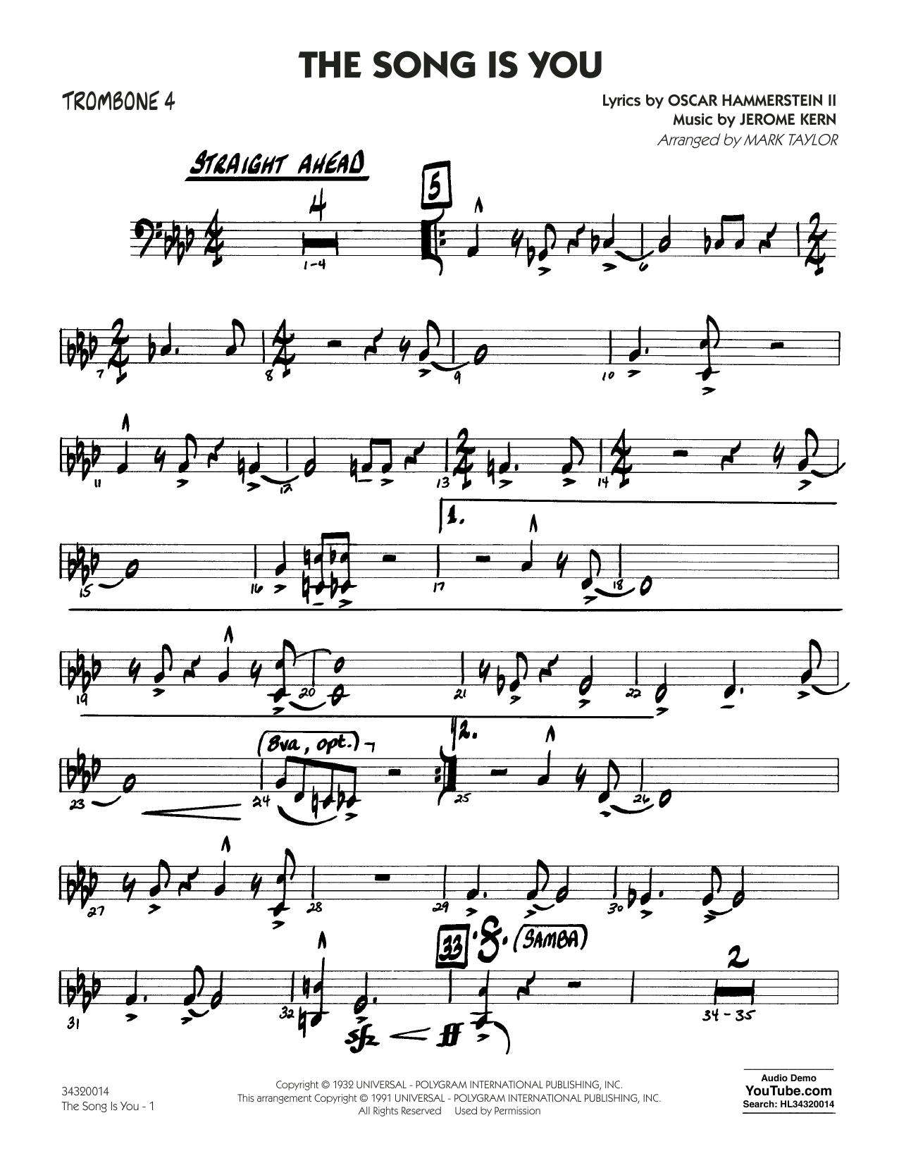 Mark Taylor The Song Is You - Trombone 4 sheet music notes and chords. Download Printable PDF.