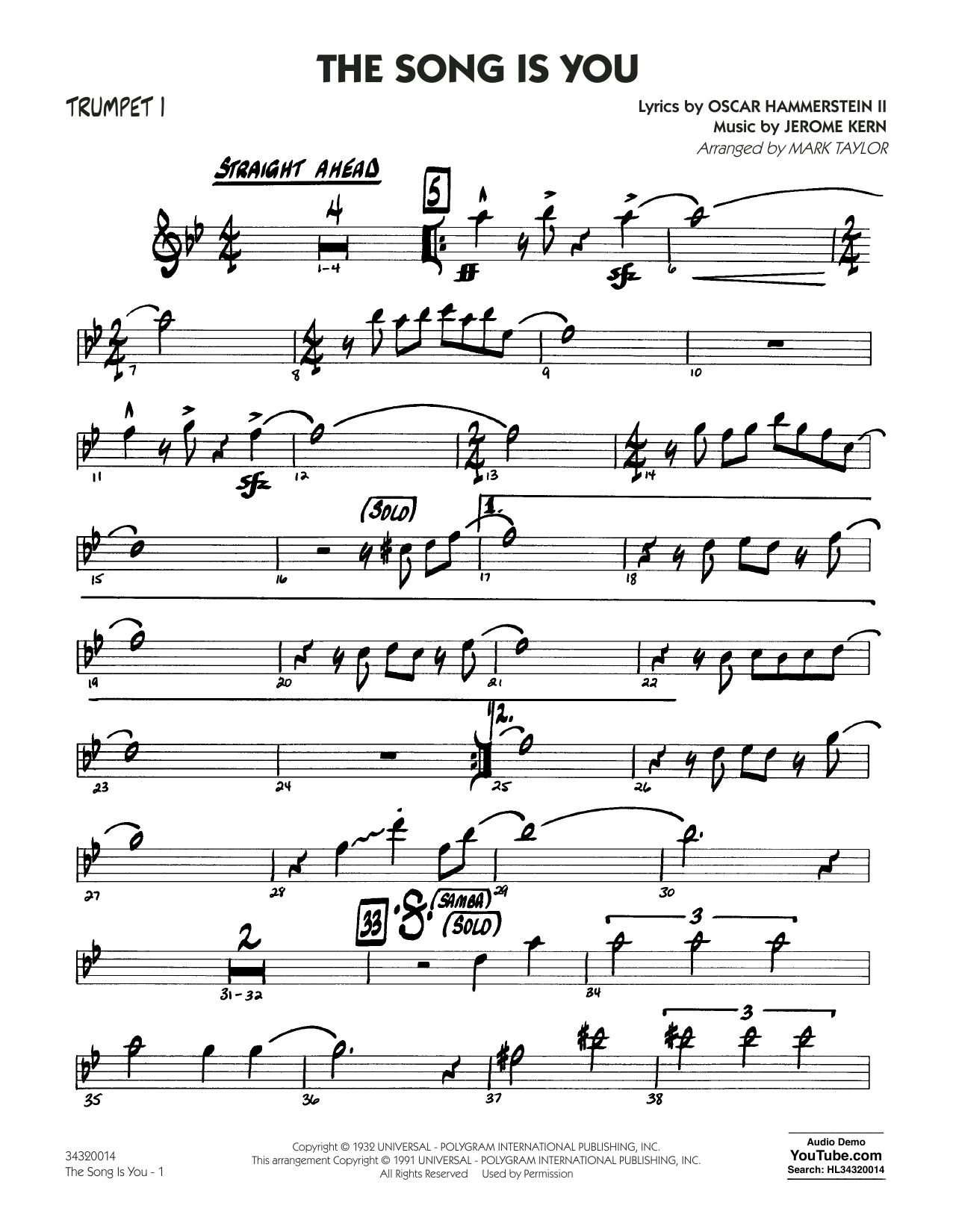 Mark Taylor The Song Is You - Trumpet 1 sheet music notes and chords. Download Printable PDF.