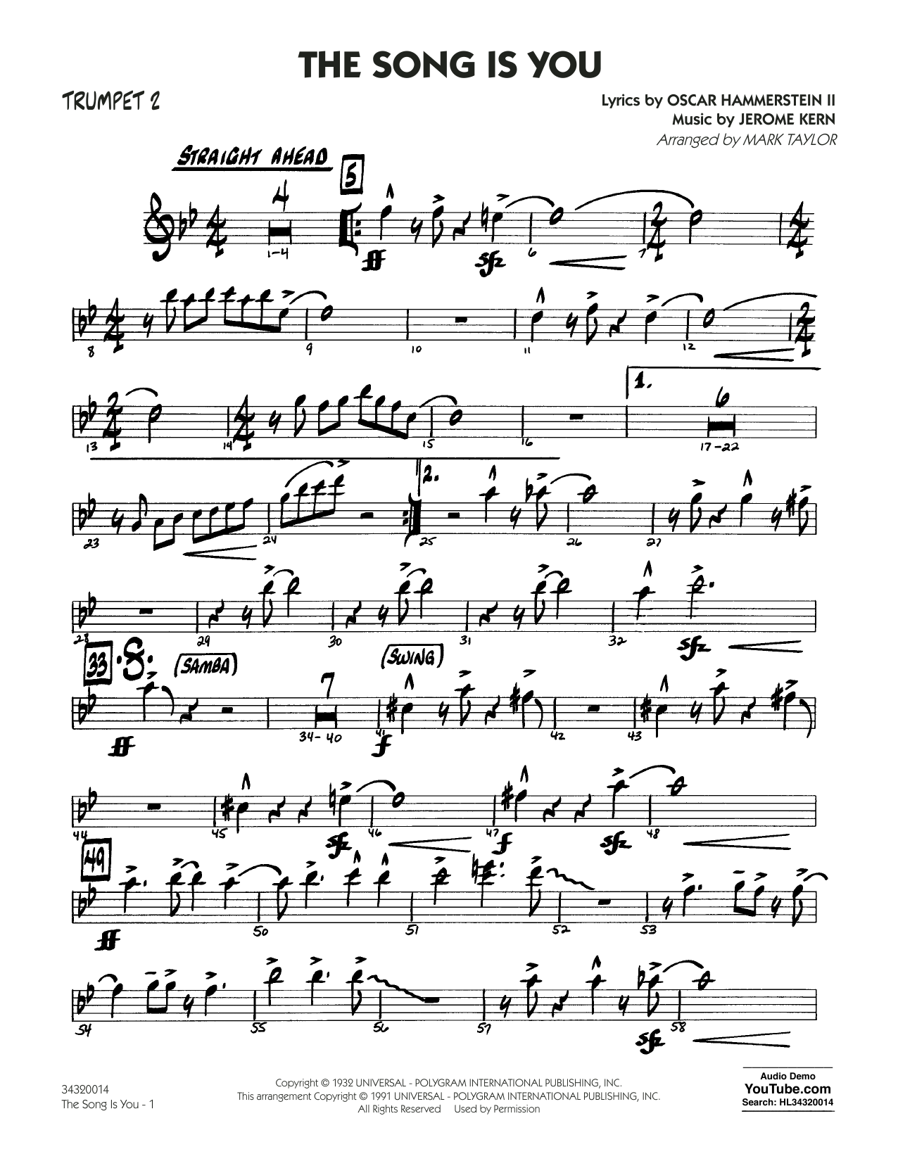 Mark Taylor The Song Is You - Trumpet 2 sheet music notes and chords. Download Printable PDF.