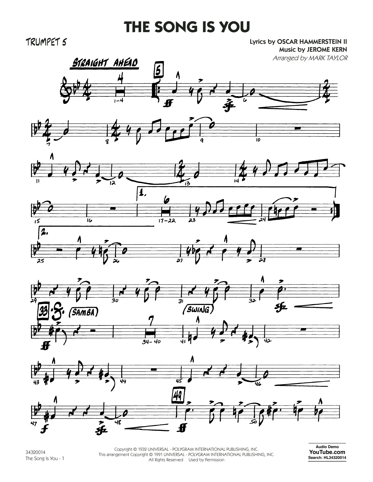 Mark Taylor The Song Is You - Trumpet 5 sheet music notes and chords. Download Printable PDF.