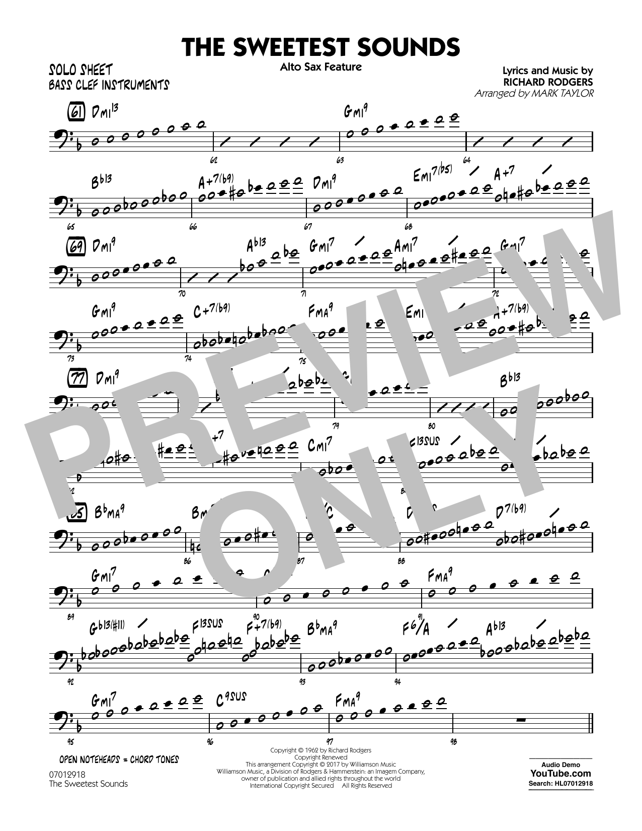 Mark Taylor The Sweetest Sounds (Alto Sax Feature) - Bass Clef Solo Sheet sheet music notes and chords. Download Printable PDF.