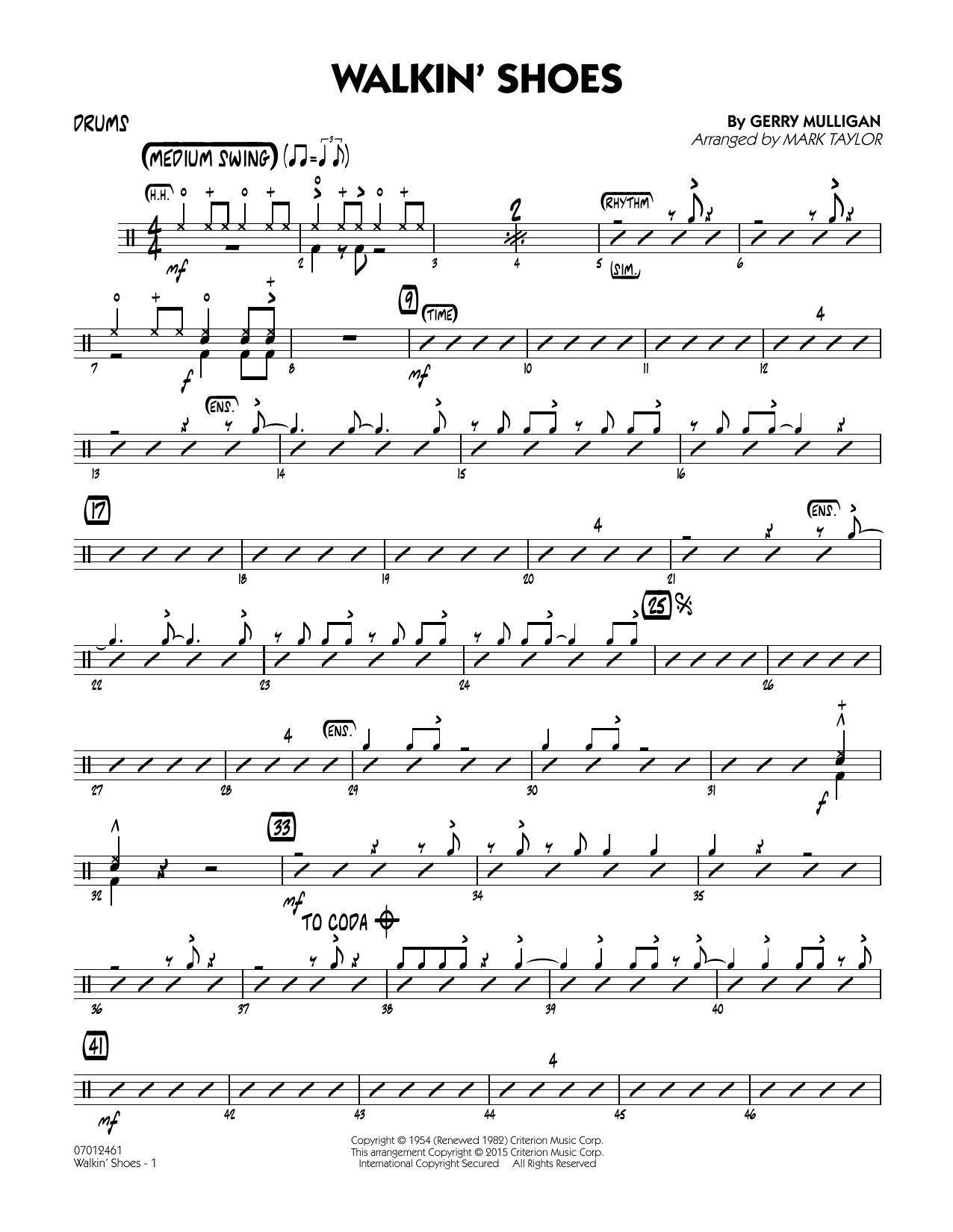 Mark Taylor Walkin' Shoes - Drums sheet music notes and chords. Download Printable PDF.