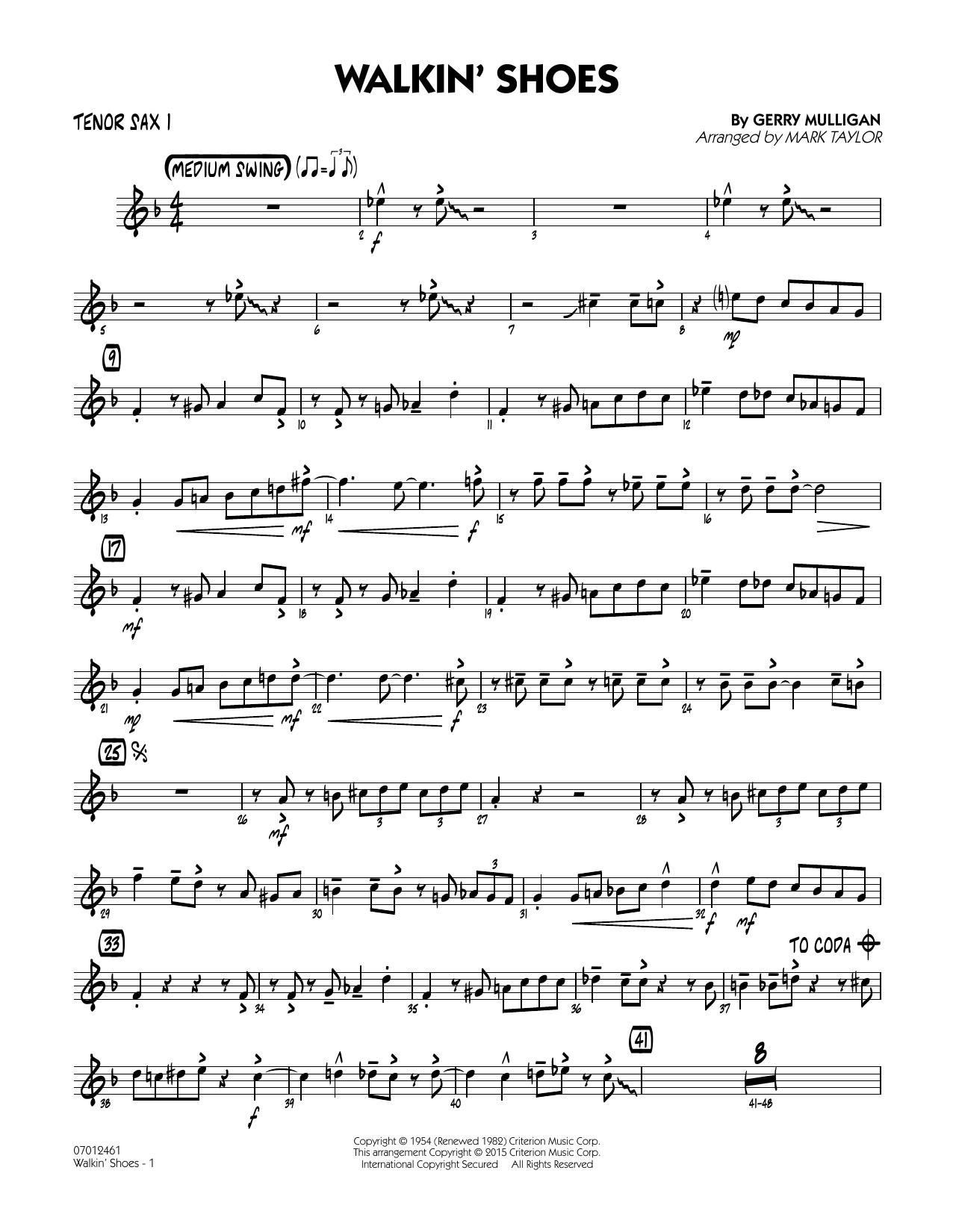 Mark Taylor Walkin' Shoes - Tenor Sax 1 sheet music notes and chords. Download Printable PDF.