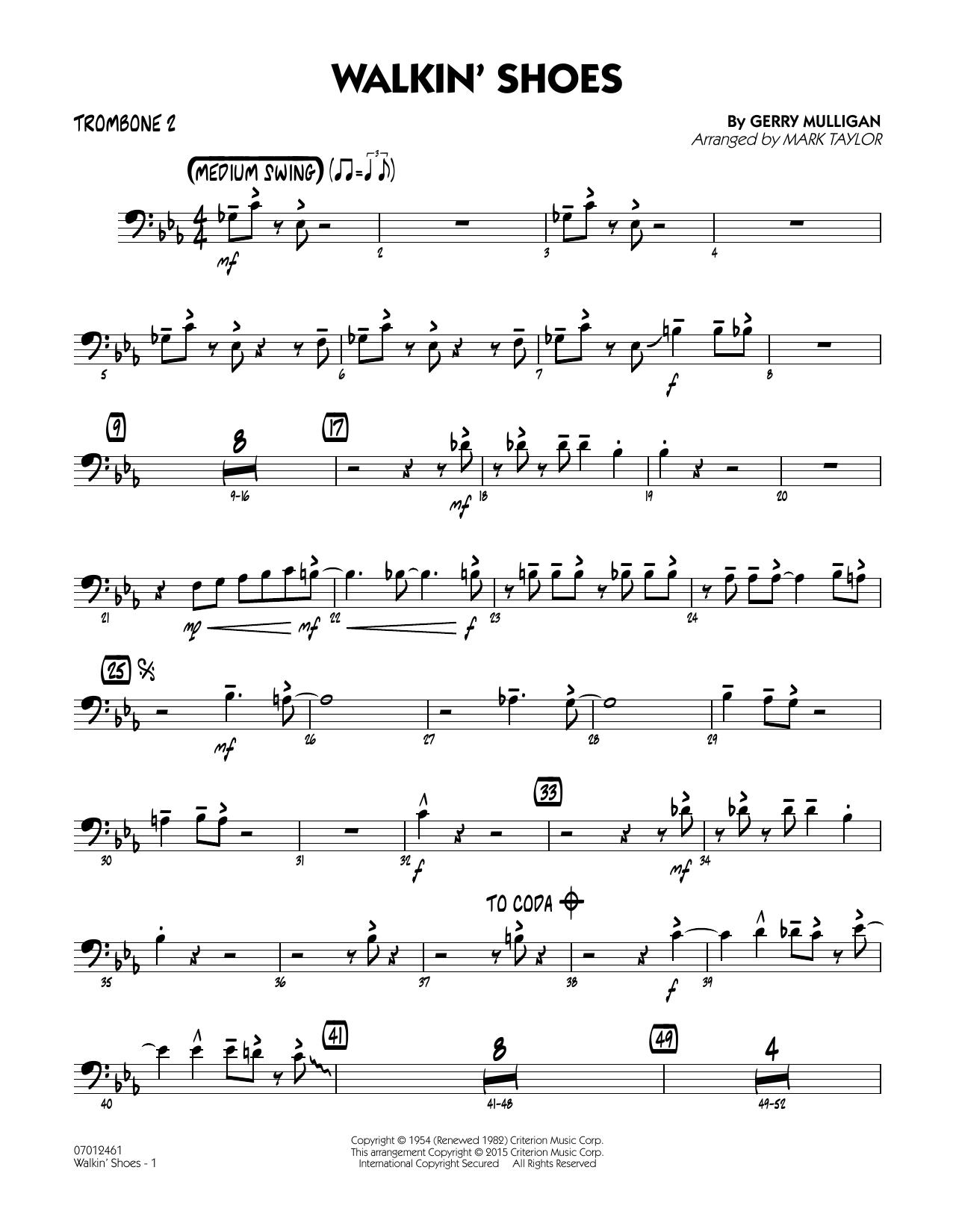 Mark Taylor Walkin' Shoes - Trombone 2 sheet music notes and chords. Download Printable PDF.