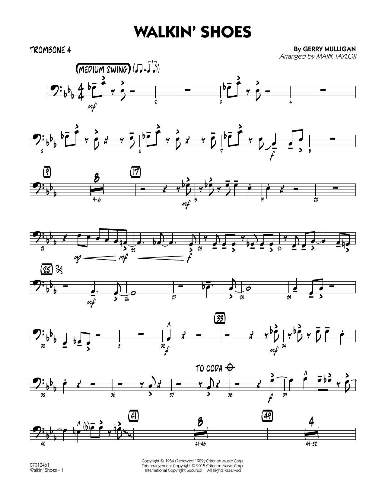 Mark Taylor Walkin' Shoes - Trombone 4 sheet music notes and chords. Download Printable PDF.
