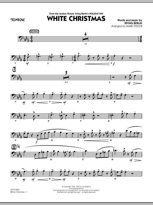 mark taylor white christmas trombone sheet music pdf notes chords christmas score jazz ensemble download printable sku 300741 mark taylor white christmas trombone sheet music notes chords download printable jazz ensemble sku 300741