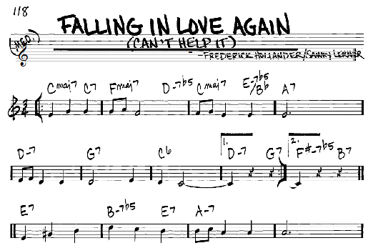 Marlene Dietrich Falling In Love Again (Can't Help It) sheet music notes and chords. Download Printable PDF.