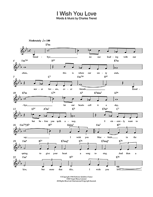 Marlene Dietrich I Wish You Love sheet music notes and chords. Download Printable PDF.