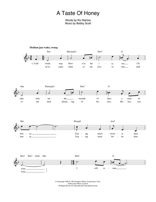 Marlow And Scott A Taste Of Honey sheet music notes and chords