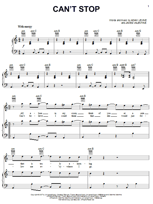 Maroon 5 Can't Stop sheet music notes and chords. Download Printable PDF.