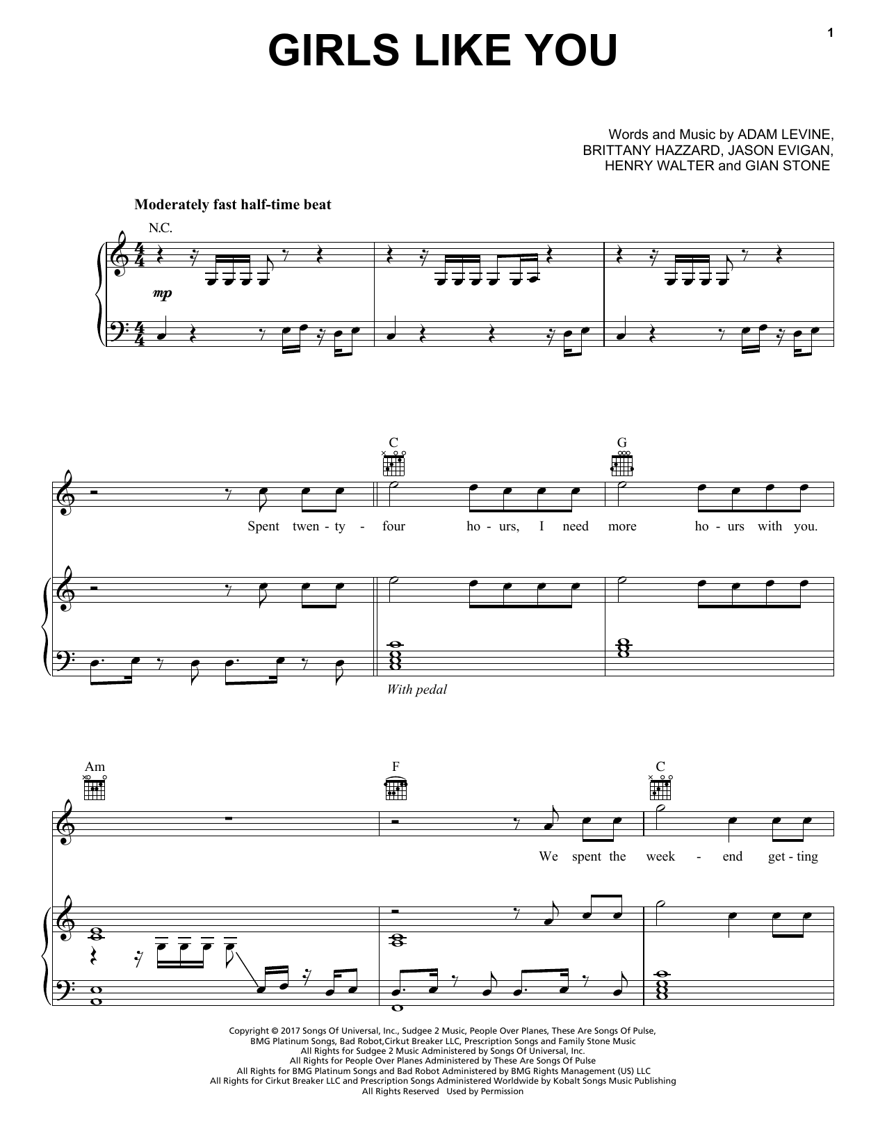 Maroon 5 Girls Like You sheet music notes and chords