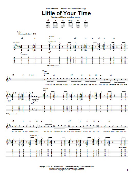 Maroon 5 Little Of Your Time sheet music notes and chords. Download Printable PDF.