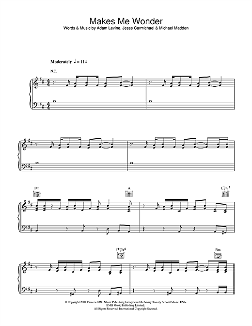 Maroon 5 Makes Me Wonder sheet music notes and chords. Download Printable PDF.